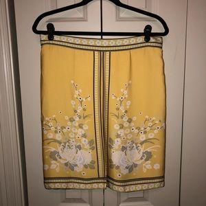 NWOT Yellow Silk Skirt